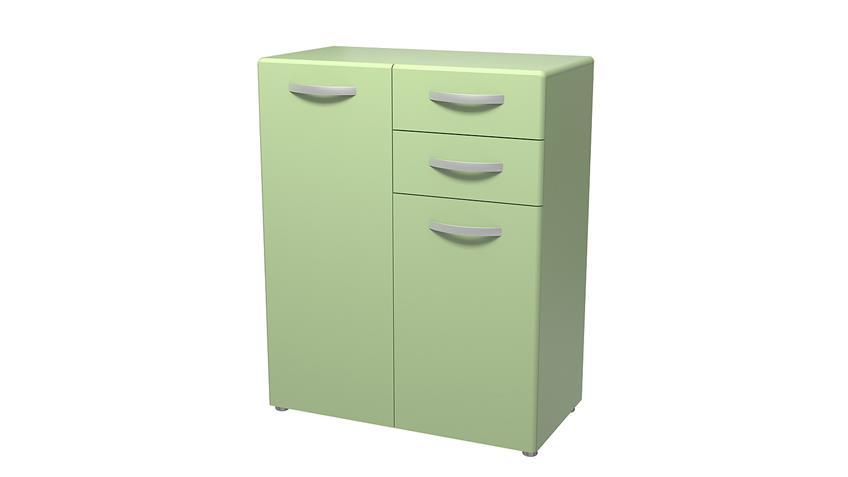 Kommode 2 ROUND in grün mit 2 Türen 2 Schubkästen