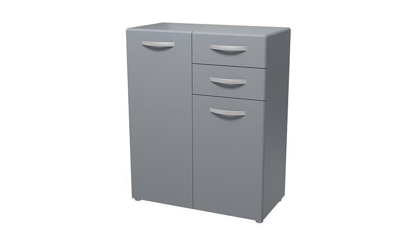 Kommode 2 ROUND in grau mit 2 Türen 2 Schubkästen