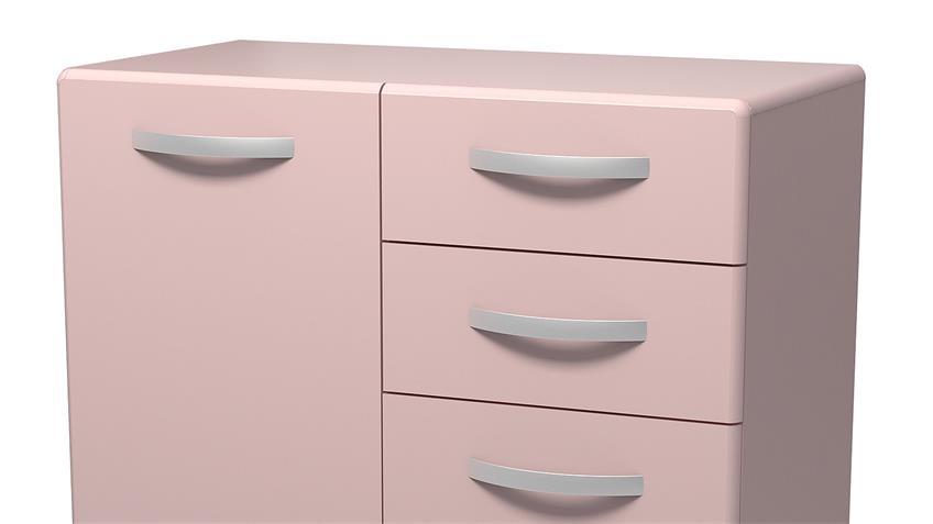 Kommode 2 ROUND in rosa mit 2 Türen 2 Schubkästen