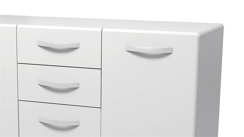 Sideboard 2 ROUND in weiß mit 3 Türen 2 Schubkästen