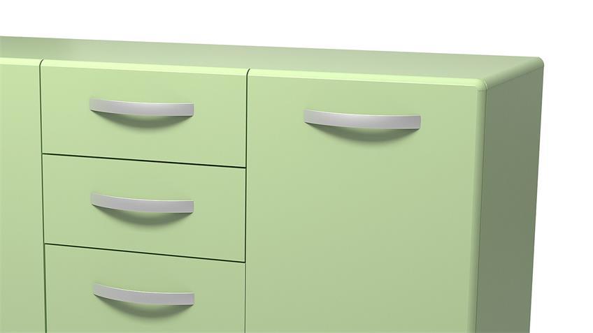 Sideboard 2 ROUND in grün mit 3 Türen 2 Schubkästen
