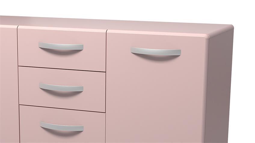 Sideboard 2 ROUND in rosa mit 3 Türen 2 Schubkästen