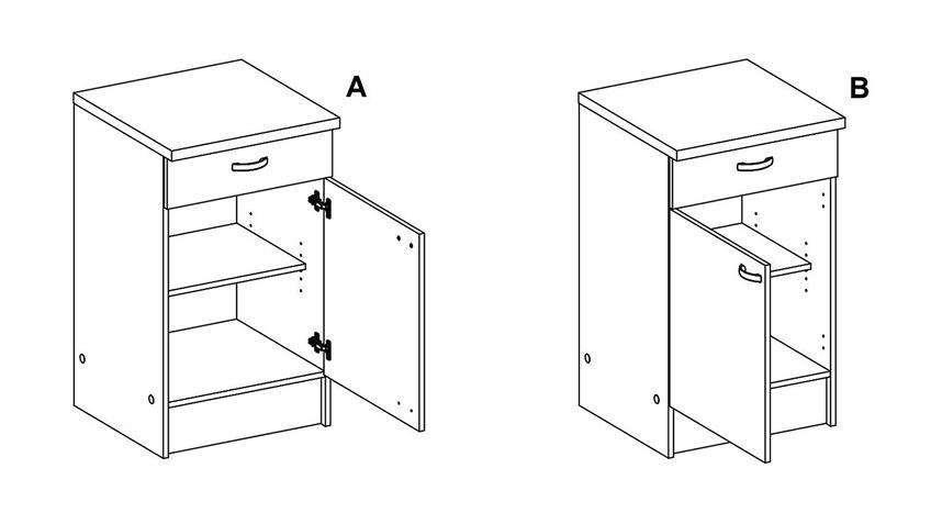 Schrank CASSY Küchenschrank 45520 in Eiche Struktur Küche