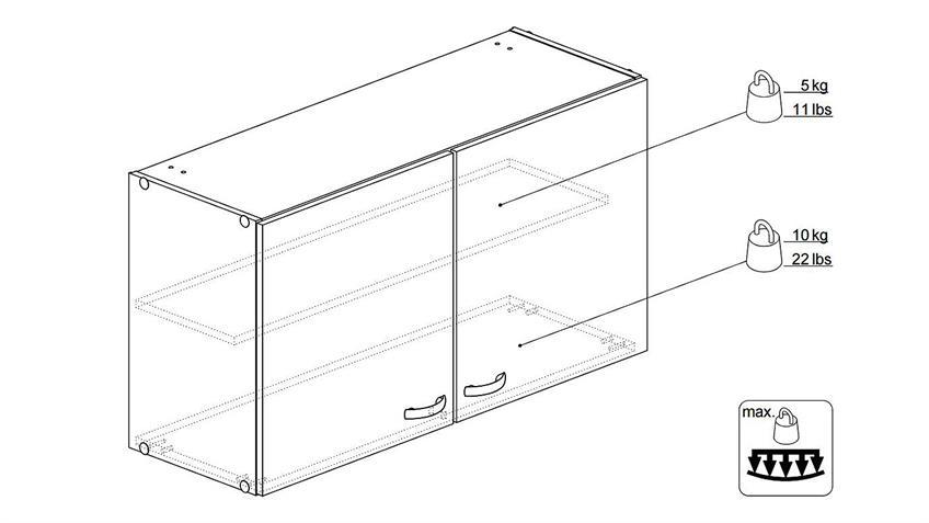 Oberschrank CASSY Schrank 45511 in Eiche Struktur Küche