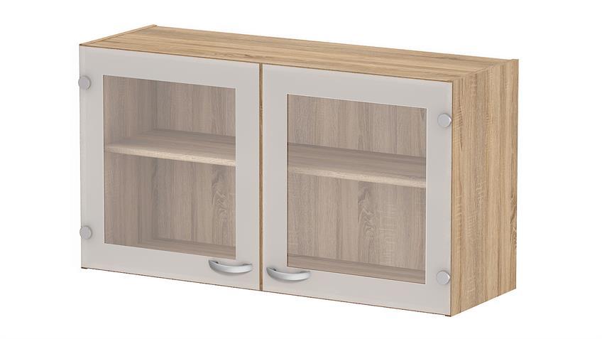 Oberschrank CASSY Schrank 45518 Eiche Struktur Glas Küche