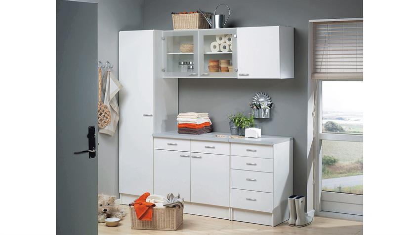 Küche CASSY Küchenzeile weiß und Glas 5-teilig