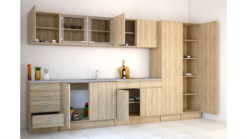 Küche CASSY Küchenzeile Eiche Struktur mit Spüle 8-teilig