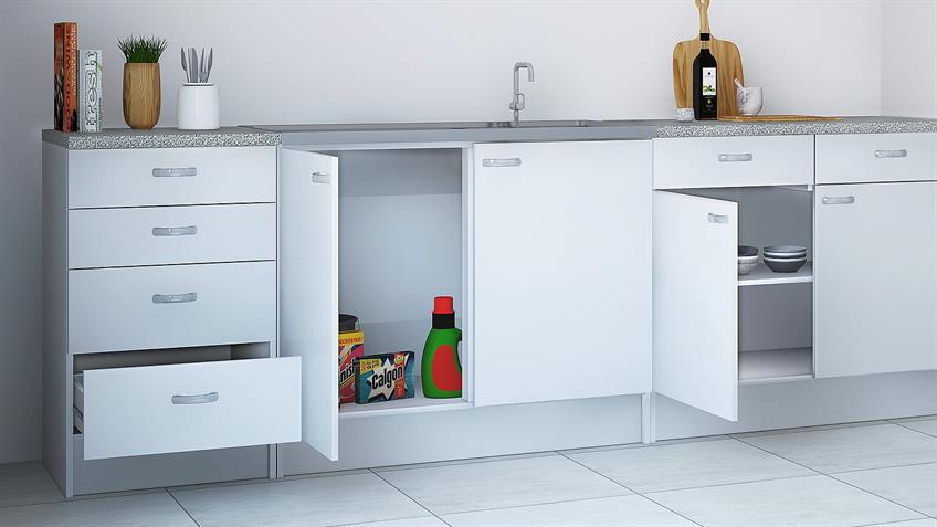 Küche CASSY Küchenzeile weiß mit Spüle 8-teilig