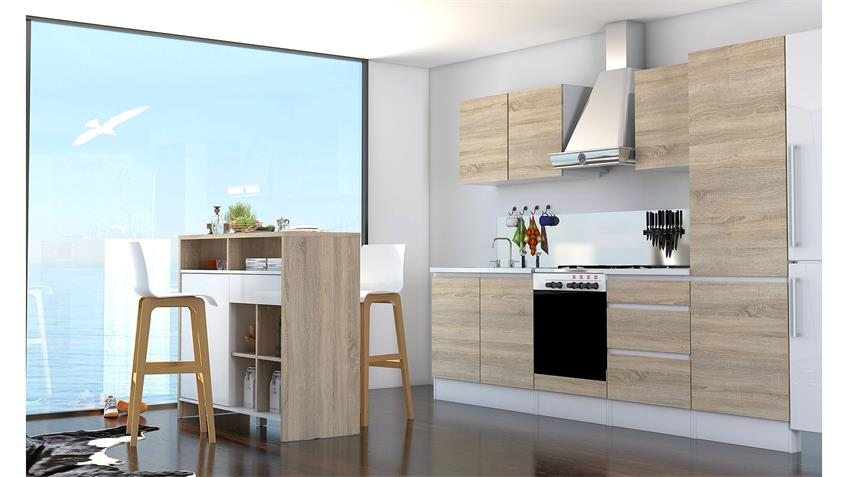 Hängeschrank IKUU 83419 in weiß und Eiche Struktur Küche