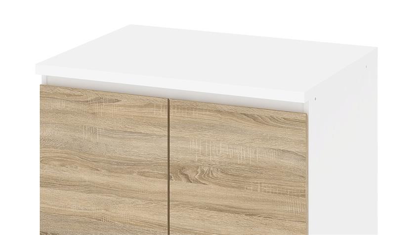 Schrank IKUU 83423 in weiß und Eiche Struktur Küche