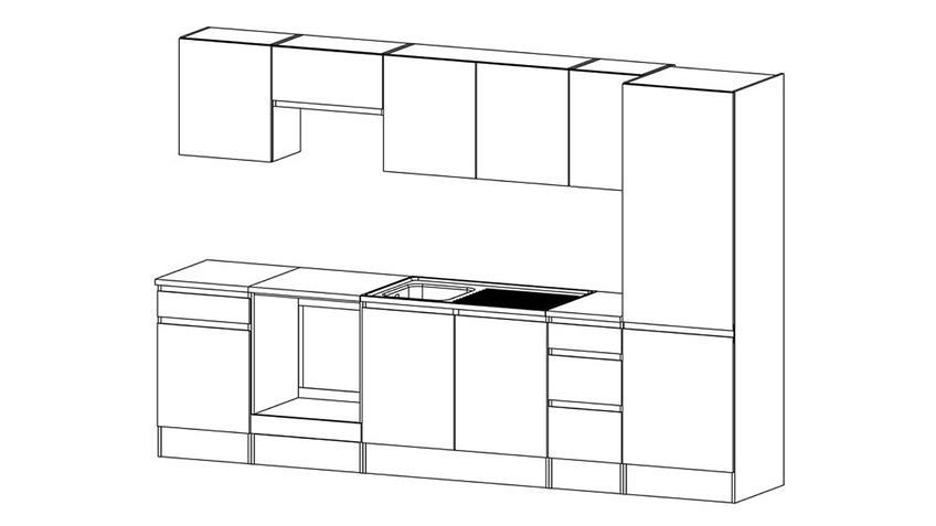 Küchenzeile IKUU Kombi 83400 13 in weiß 9-teilig
