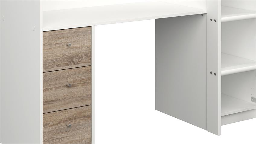Hochbett LYON weiß Trüffel 90x200 cm inkl. Schreibtisch