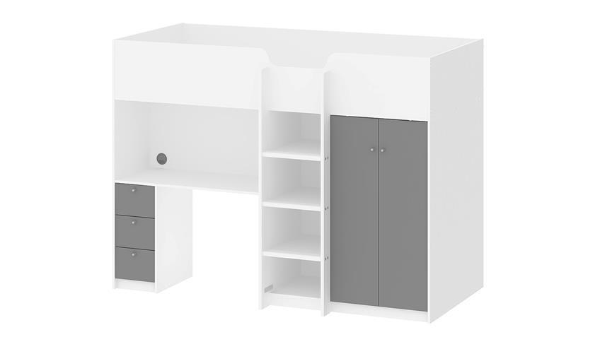 Hochbett LYON weiß grau 90x200 cm inkl. Schreibtisch