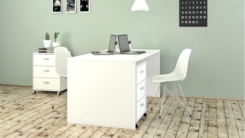 Schreibtisch KINECT Bürotisch in weiß 160x80 cm
