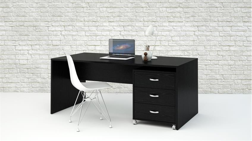 Schreibtisch KINECT Bürotisch in Esche schwarz 160x80 cm