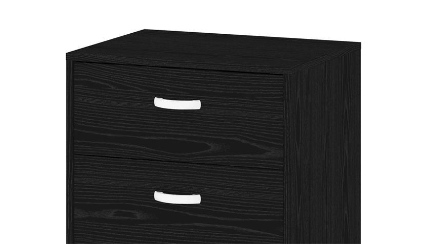 Rollcontainer KINECT in Esche schwarz mit 3 Schubkästen