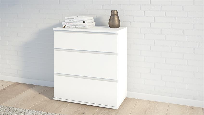 Kommode NOWA Schrank in weiß mit 3 Schubkästen