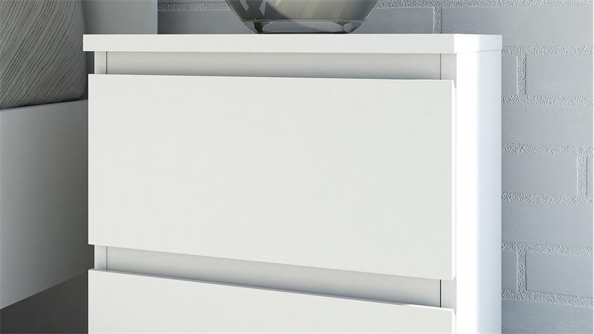 Nachttisch NOWA in weiß mit 2 Schubkästen