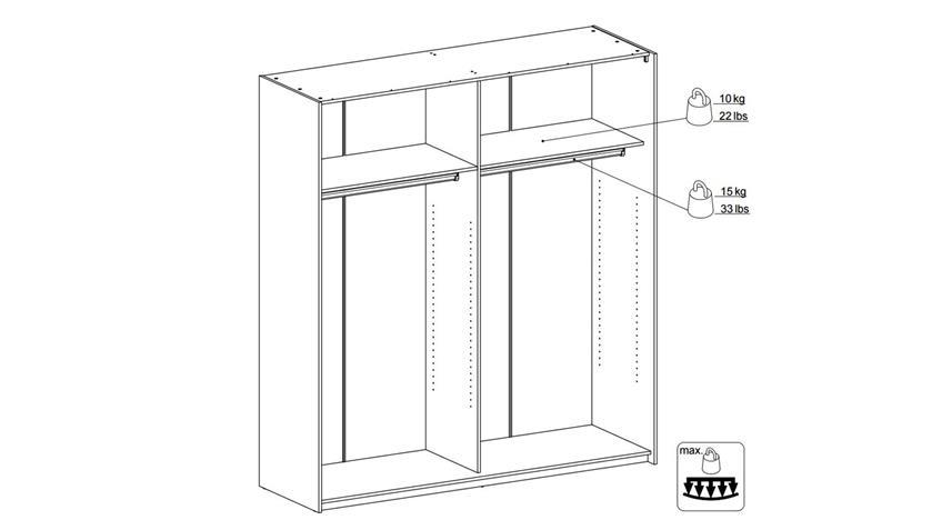 Schwebetürenschrank VERONA in Eiche Struktur 182 cm