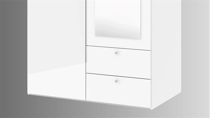 Kleiderschrank SAVE in weiß Hochglanz mit Spiegel 99 cm