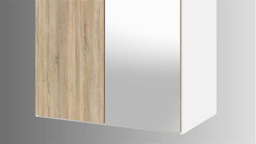 Kleiderschrank SAVE weiß Eiche Struktur mit Spiegel 99 cm