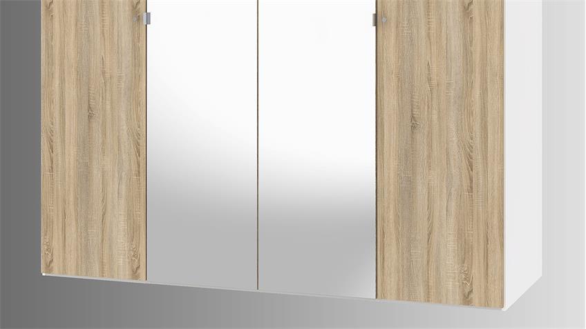 Kleiderschrank SAVE weiß Eiche Struktur Spiegel 196 cm