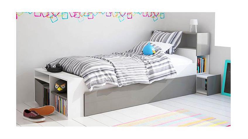 Bett 82089 Jugendbett in weiß und grau 90x190 cm