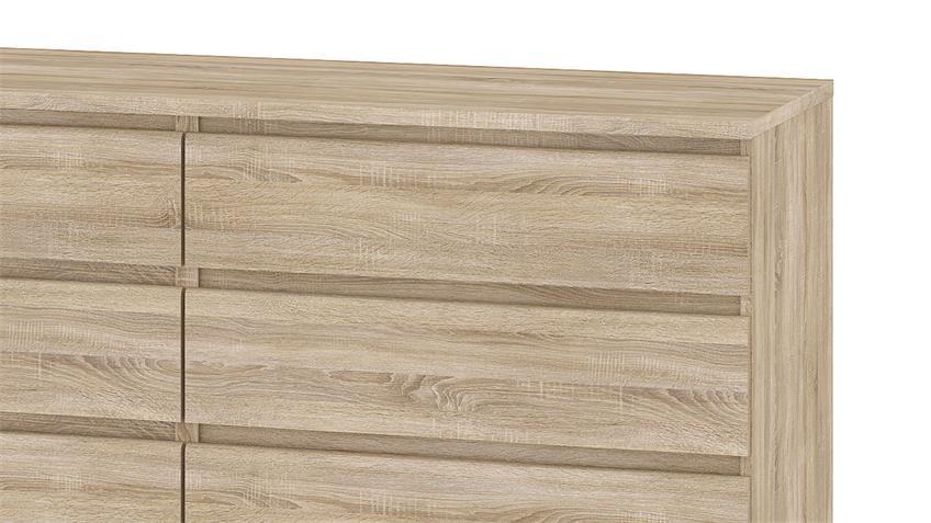 Kommode NAIA Sideboard Eiche Struktur mit 6 Schubkästen