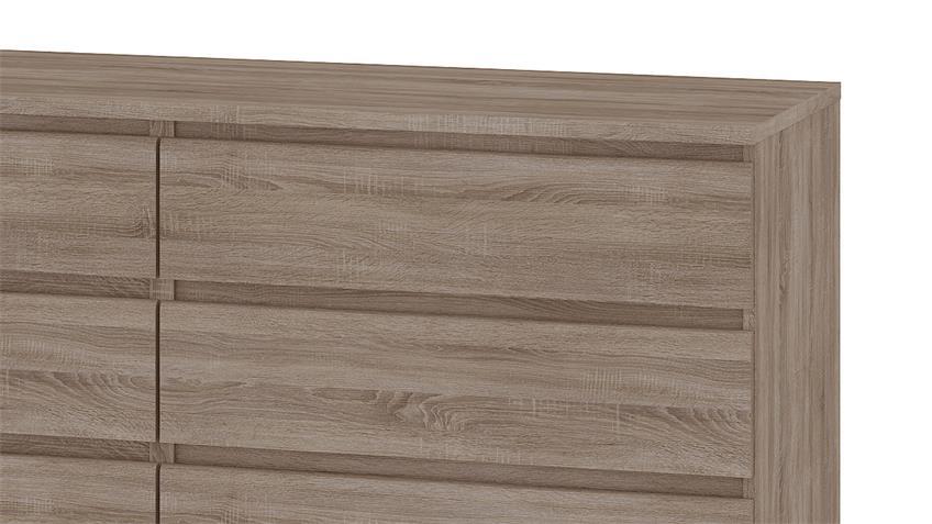 Kommode NAIA Sideboard Trüffel mit 6 Schubkästen