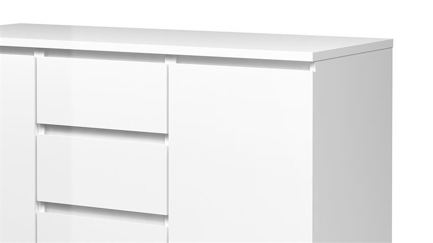 Kommode NAIA Sideboard weiß mit 4 Schubkästen