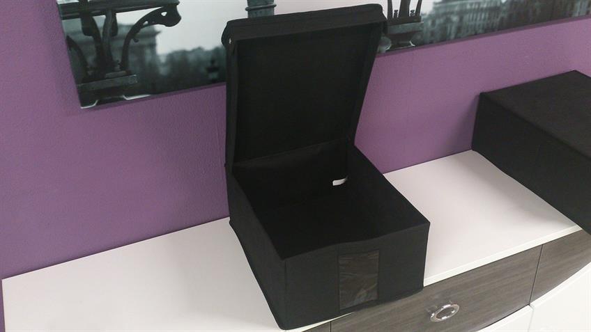 Ordnungsbox Aufbewahrungsbox L schwarz mit Deckel