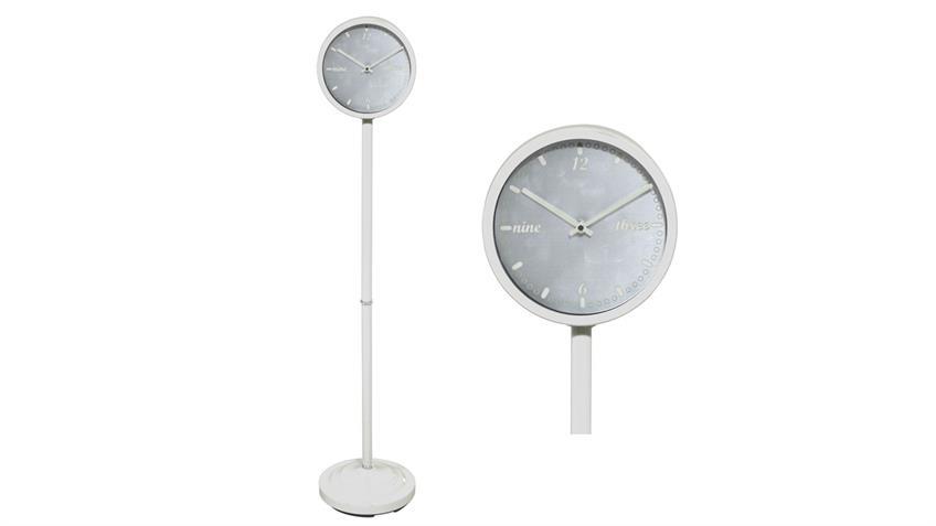 Standuhr Metall in weiß Uhr Höhe 120 cm d= 22 cm