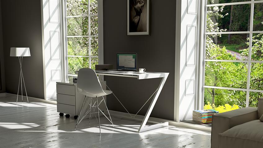 Schreibtisch Metall weiß 120 Z-Line TV-Rack mit Sicherheitsglas
