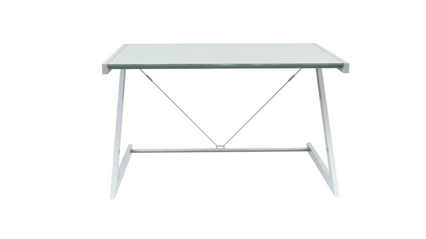 Schreibtisch 120 Z-Line TV-Rack in weiß mit Sicherheitsglas