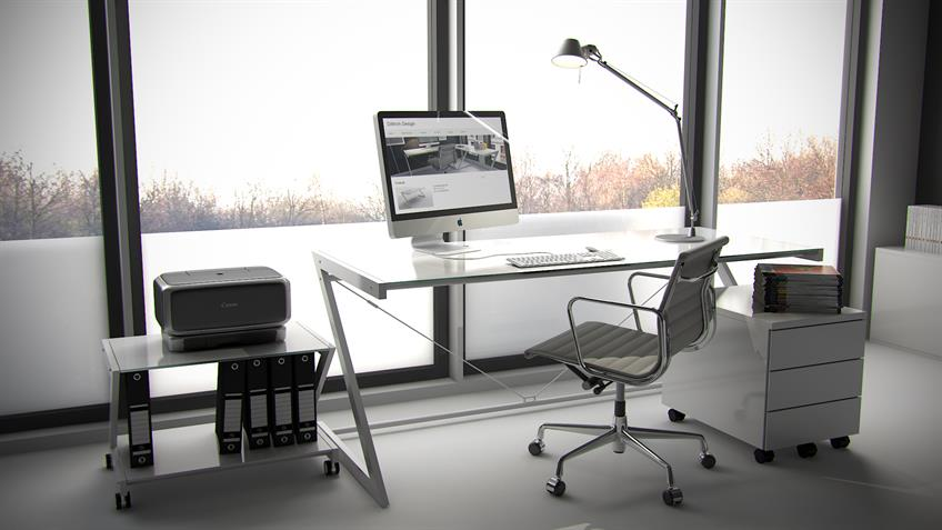 Schreibtisch 180 Z-Line TV-Rack in weiß mit Sicherheitsglas