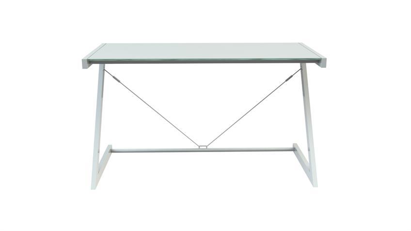 Schreibtisch 100 Z-Line TV-Rack in weiß mit Sicherheitsglas