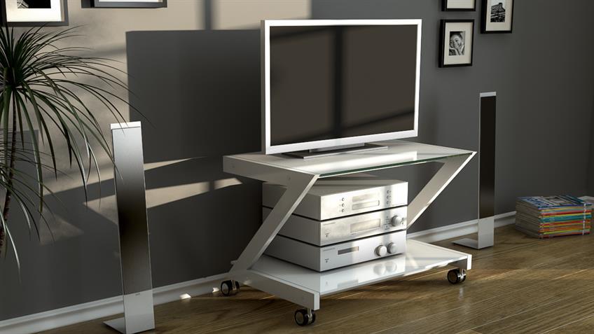 Multi Rack Z-Line TV-Rack in weiß mit Sicherheitsglasscheibe