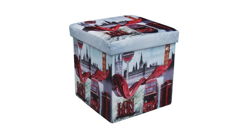 Faltbox London Sitzhocker mit Kunstleder bezogen gepolstert