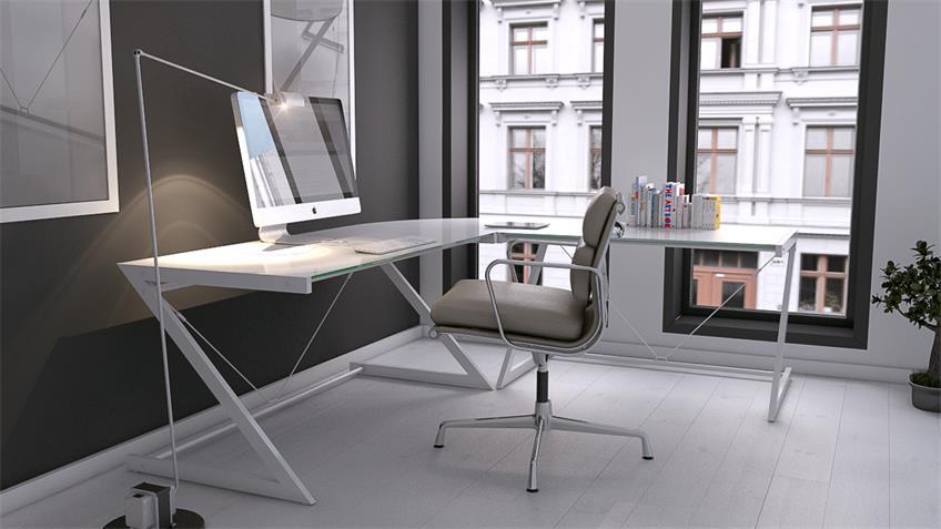 Ecktisch Z-Line Schreibtisch weiß Metallrahmen Sicherheitsglas