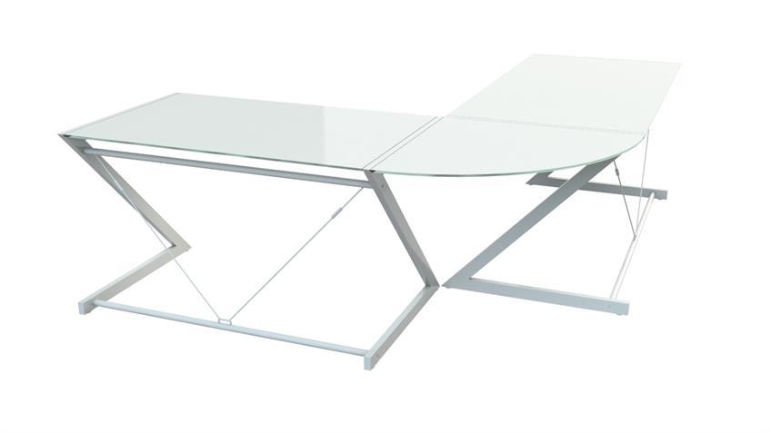 Ecktisch Z-Line Schreibtsich in weiß mit Sicherheitsglas
