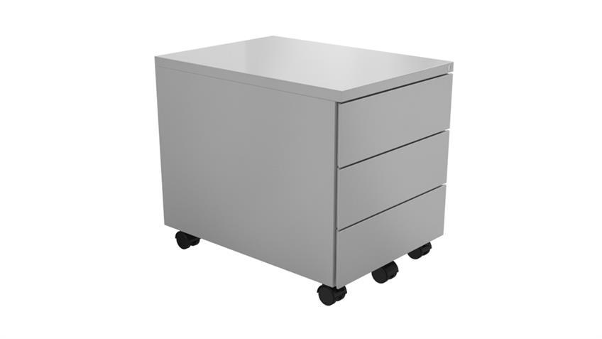 Rollcontainer Z-Line Metall Büroschrank weiß 3 Schubkästen abschließbar