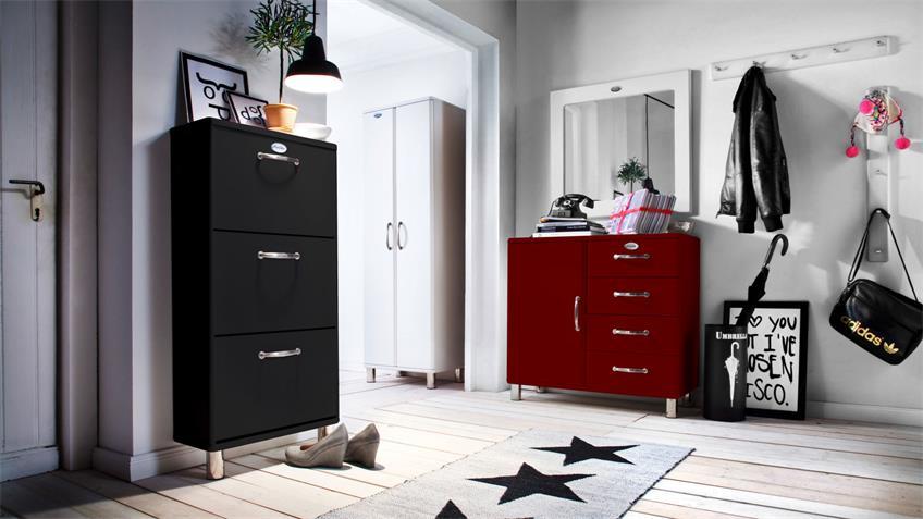 Schuhschrank MALIBU Kommode Flurmöbel in rot von Tenzo