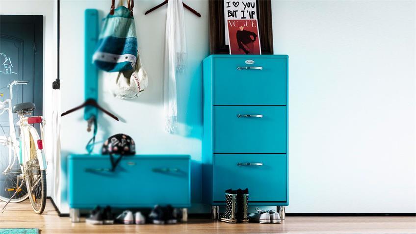 Schuhschrank MALIBU Kommode Flurmöbel Ocean blau Tenzo