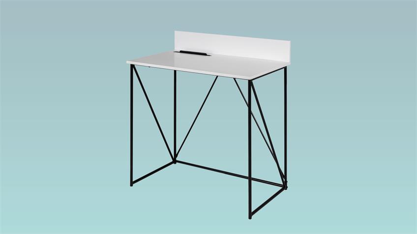 Schreibtisch TELL weiß schwarz Tablett Einsatz von Tenzo