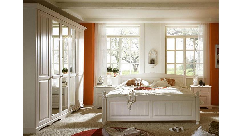 Kleiderschrank PISA Pinie weiß gebürstet teilmassiv 248 cm