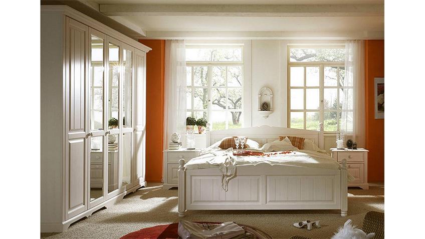 Schlafzimmer-Set PISA Pinie Weiß gebürstet Teilmassiv