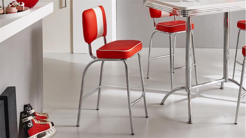 Barstuhl ELVIS 4er Set Barhocker rot weiß Chrom 50er Jahre American Diner