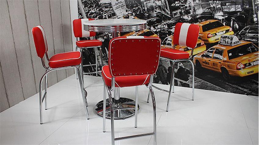 bartisch elvis stehtisch edelstahl wei rund american diner. Black Bedroom Furniture Sets. Home Design Ideas