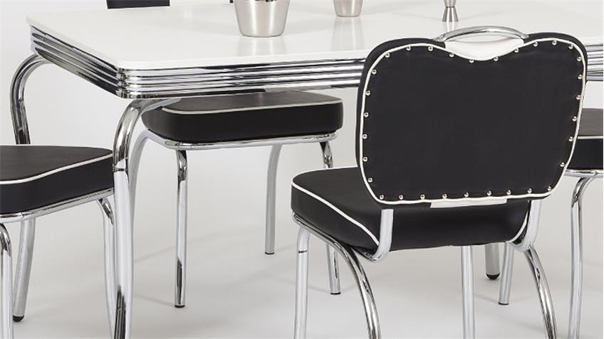Essgruppe ELVIS 2 Tischgruppe American Diner 50er Jahre schwarz