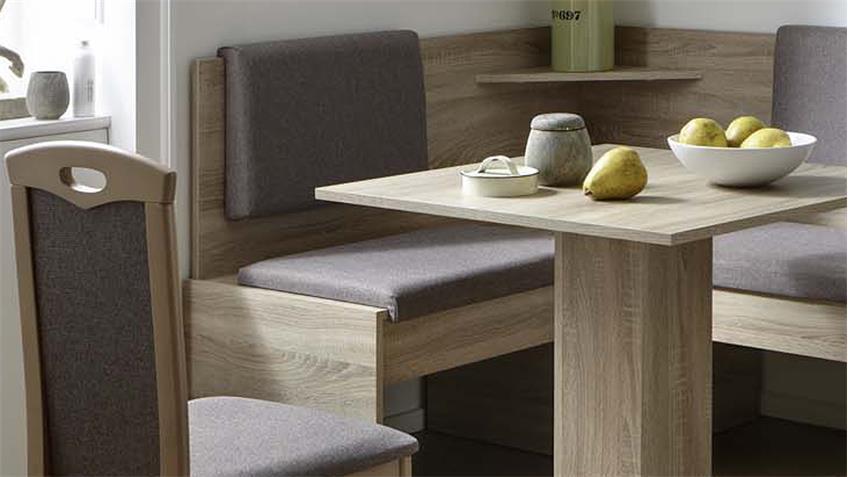 eckbankgruppe java essgruppe in eiche sonoma und stoff grau braun. Black Bedroom Furniture Sets. Home Design Ideas